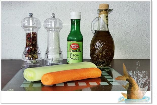 Gebackene Dorade aus dem Ofen, im Gemüsebett - Rezept - Bild Nr. 5357