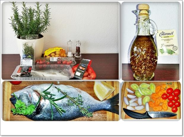 Gebackene Dorade aus dem Ofen, im Gemüsebett - Rezept - Bild Nr. 5360