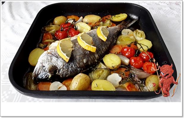 Gebackene Dorade aus dem Ofen, im Gemüsebett - Rezept - Bild Nr. 5364