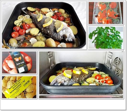 Gebackene Dorade aus dem Ofen, im Gemüsebett - Rezept - Bild Nr. 5365