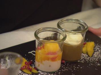 Rezept: Crème Mokka und exotischer Obstsalat
