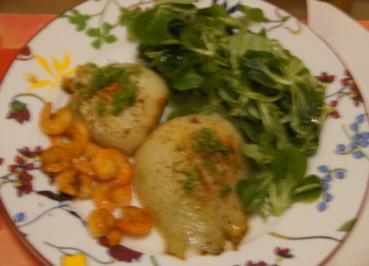 Rezept: Fenchel-Garnelen-Feldsalat Teller