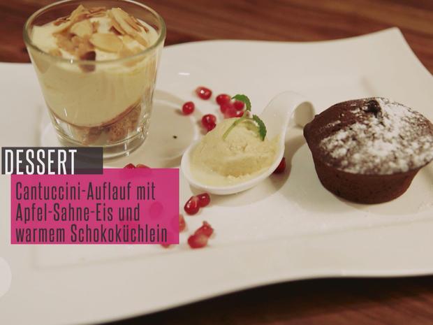 Kalter Cantuccini Amaretto Auflauf Und Schokoladenkuchen Mit