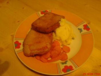 Gebackener Leberkäse, Kartoffelpüree und glasierte Karotten - Rezept