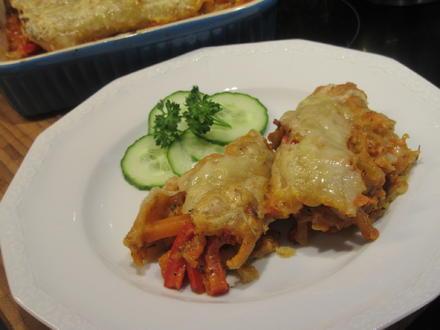 """Pfannkuchen: Hefepfannkuchen """"Pizzastyle"""" mit Gemüsefüllung - Rezept - Bild Nr. 5484"""