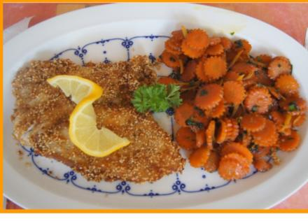 Sesamscholle mit Honig-Möhrenblüten - Rezept - Bild Nr. 5521