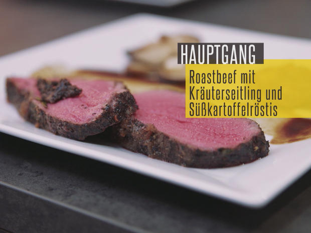roastbeef mit steinpilz so e dazu kr uterseitlinge und s kartoffelr sti rezept. Black Bedroom Furniture Sets. Home Design Ideas