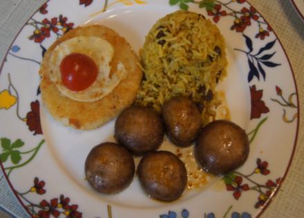 Sellerieschnitzel mit herzhaften Champignons und Indisches Reis-Pilaw - Rezept - Bild Nr. 5586