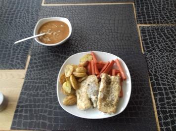 Rezept: Seeteufel an Rosmarinkartoffeln und Möhrengemüse
