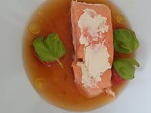 Ikarimi-Lachsfilet | Grilltomatensud | Knoblauchmandelpaste |  Tomatenkompott - Rezept - Bild Nr. 5887