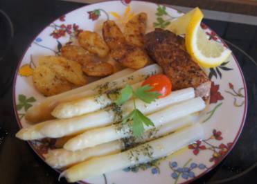 Schweinefilet mit Spargel und Bratkartoffeln - Rezept - Bild Nr. 5650