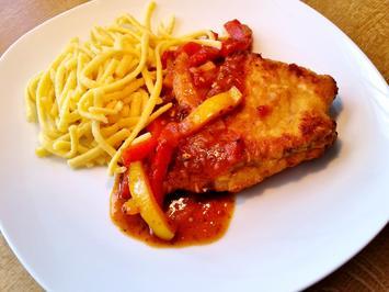 Schnitzel mit pikanter Paprikasoße - Rezept - Bild Nr. 2