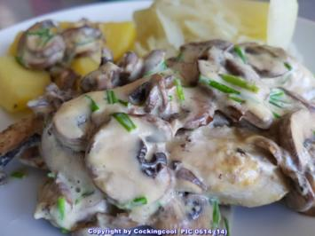 Geflügel / Hähnchen = Hähnchenbrust, Kohlrabi-Spaghetti Pilzcremesosse  à la Biggi - Rezept - Bild Nr. 5691