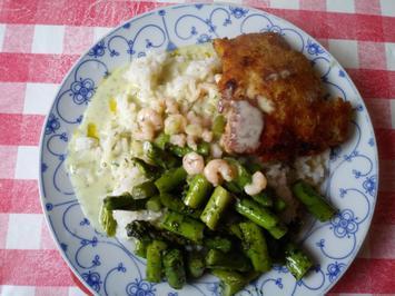 Panierter Fisch mit Reis und grünem Spargel - Rezept - Bild Nr. 5678