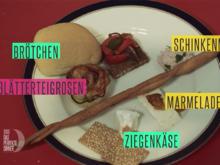 Pecorino-Walnuss-Cantucci, Croutons mit Schinkenmousse, Blätterteigrosen mit Zucchini - Rezept - Bild Nr. 2