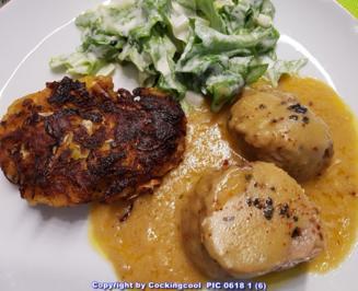 Rezept: Schweinefilet mit Krautfrikadellen und Salat à la Biggi