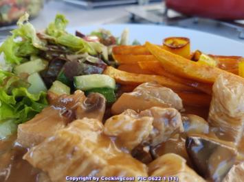 Rezept: Geflügel / Pute = Putenfiletgulasch mit Süsskartoffelsticks à la Biggi