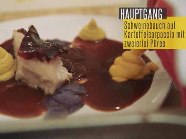 Sous vide gegarter krosser Schweinebauch auf Kartoffelcarpaccio mit zweierlei Püree - Rezept - Bild Nr. 2