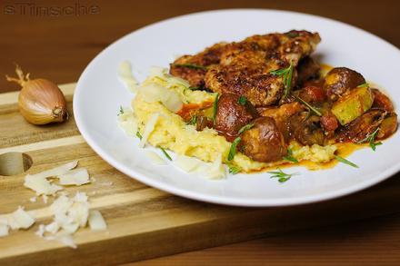 Mediterranes Zucchini-Pilzgemüse mit cremiger Käsepolenta - Rezept - Bild Nr. 5770