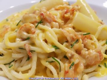 Biggi`s Pasta = Spaghetti Spargel und Meeresfrüchte - Rezept - Bild Nr. 5766