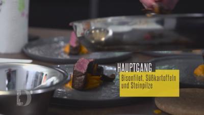 Rezept: Bisonfilet mit Süßkartoffelpüree, Steinpilzen und Macadamianüssen