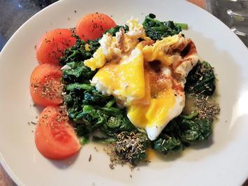Rezept: Blattspinat mit Ei