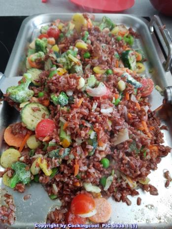 Gebratener roter Reis mit Gemüse - Rezept - Bild Nr. 5816