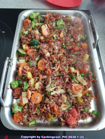 Gebratener roter Reis mit Gemüse - Rezept - Bild Nr. 5817