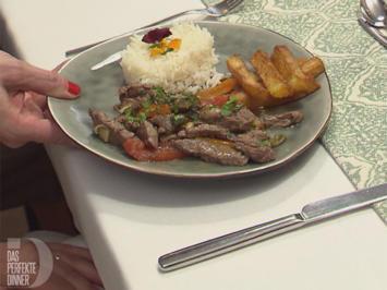 """Rezept: Rind """"Lomo Saltado"""" mit Gemüse, Kartoffeln und Reis"""