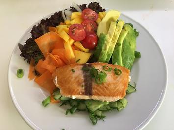 Lachs auf Gurkenbett an Salat mit Mango, Karotte und Avocado - Rezept - Bild Nr. 2