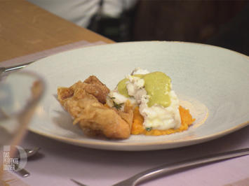 Rezept: Gebratener Seeteufel mit Süßkartoffel-Wan-Tan