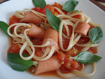 Würstchen-Spaghetti in Tomatensauce - Rezept - Bild Nr. 5837