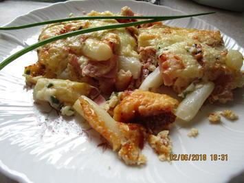 Rezept: Auflauf:  Spargel mit Schinken und Käse-Sahne-Sauce