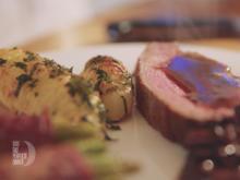 Rinderfilet mit Rotweinschalotten, Bohnen im Speckmantel und Backkartoffeln - Rezept - Bild Nr. 5853