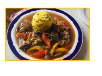 Rindfleisch mit Paprika und gelber Reis mit Erbsen - Rezept - Bild Nr. 5886