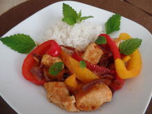 Scharfe Hähnchen -Gemüse-Pfanne mit Basmati-Reis - Rezept - Bild Nr. 5886
