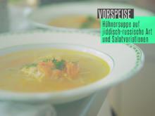 """Hähnchensuppe mit Nudeln, Salat """"Olivje"""", süßer Rote-Bete-Salat, Käse-Salat - Rezept - Bild Nr. 5887"""