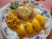 Schweinerückenschnitzel mit Buttermais und gelben Kümmel-Kartoffeln - Rezept - Bild Nr. 6047