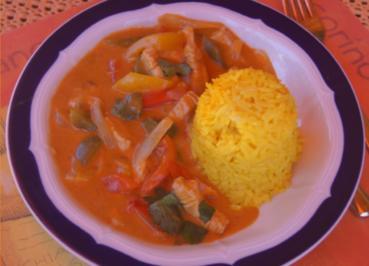Thailändisches rotes Curry mit gelben Basmati Reis - Rezept - Bild Nr. 6037