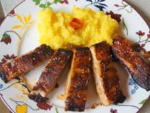 Spare Ribs mit Gurkensalat und gelben Zwiebel-Kartoffelstampf - Rezept - Bild Nr. 6051