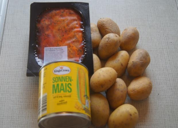 Schweinenackensteak mit Buttermais und Gewürz-Kartoffeln - Rezept - Bild Nr. 6061