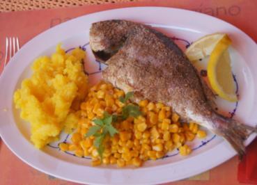 Dorade mit Buttermais und gelben Kartoffelstampf - Rezept - Bild Nr. 6060