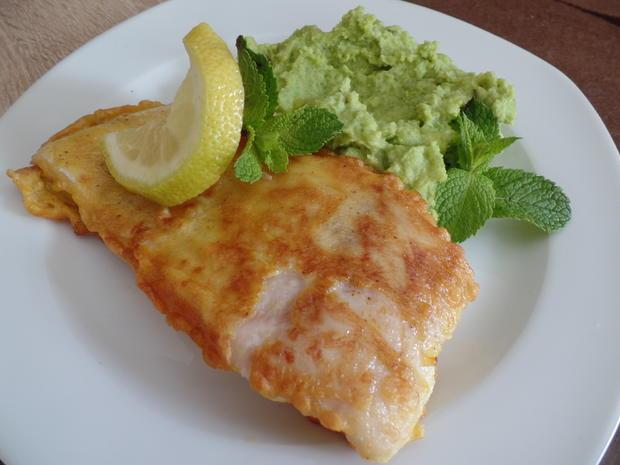 Backfisch mit Erbsenpüree - Rezept - Bild Nr. 6087