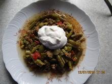 Eintopf: Grüne Bohnen mit Tomaten, Gurken und Hack - Rezept - Bild Nr. 6075