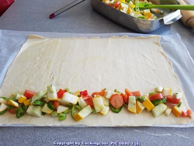 Pizza Brotteig deftig gefüllt mit Gemüse dazu FETA Stick`s - Rezept - Bild Nr. 6090