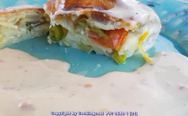 Pizza Brotteig deftig gefüllt mit Gemüse dazu FETA Stick`s - Rezept - Bild Nr. 6096