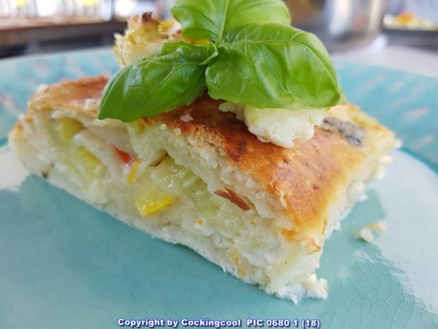 Pizza Brotteig deftig gefüllt mit Gemüse dazu FETA Stick`s - Rezept - Bild Nr. 6097