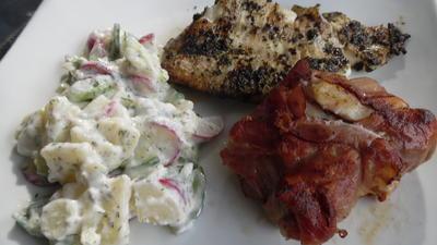 Fisch vom Grill mit Kartoffel-Gurkensalat - Rezept - Bild Nr. 6096