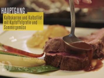 Kalbskarree und Kalbsfilet mit Kartoffelgratin und Sommergemüse - Rezept - Bild Nr. 6221