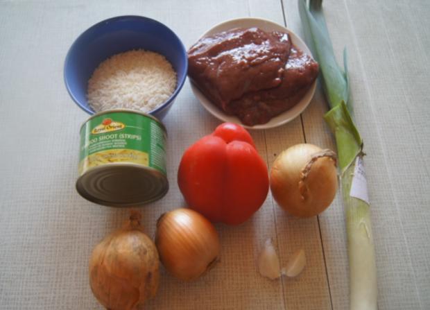 Kalbsleber mit Gemüse im Wok und gelber Basmatireis - Rezept - Bild Nr. 6209